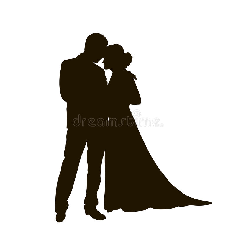 A bride and groom on their wedding day about to kiss in silhouette stock illustration