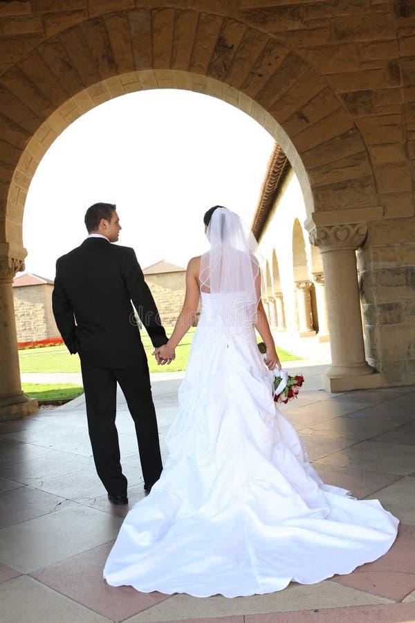 Bride and Groom Walking stock image