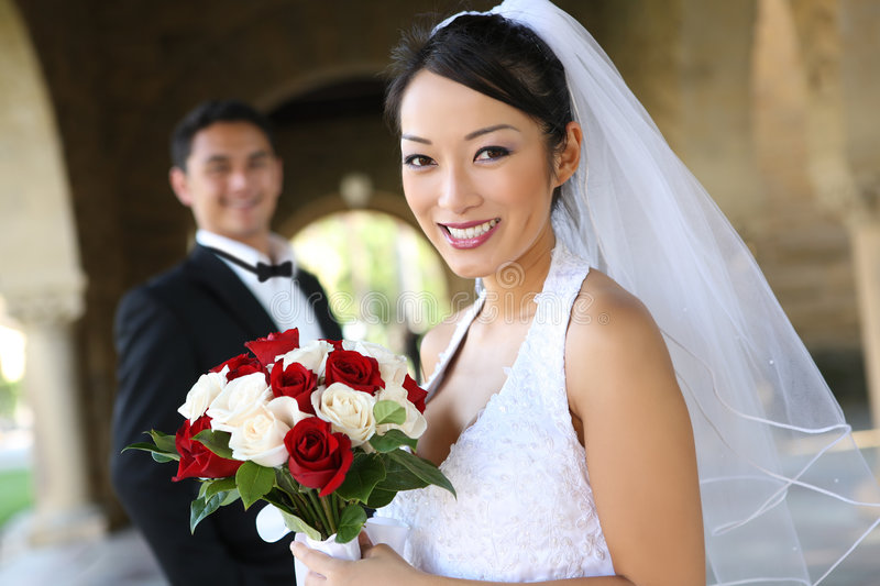 Bride and Groom at Wedding royalty free stock images