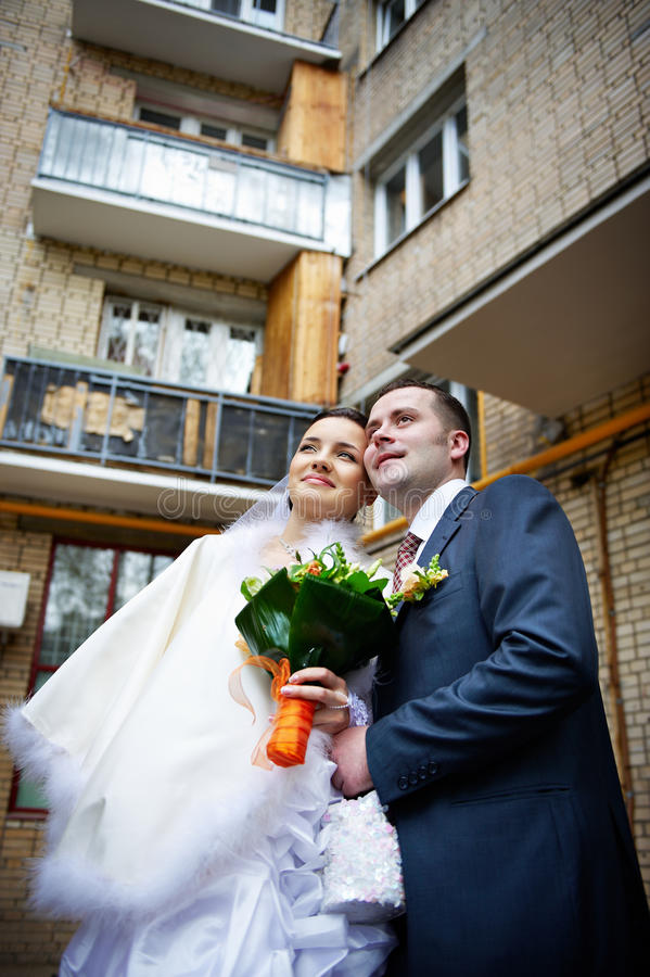 Bride and groom in wedding day royalty free stock images
