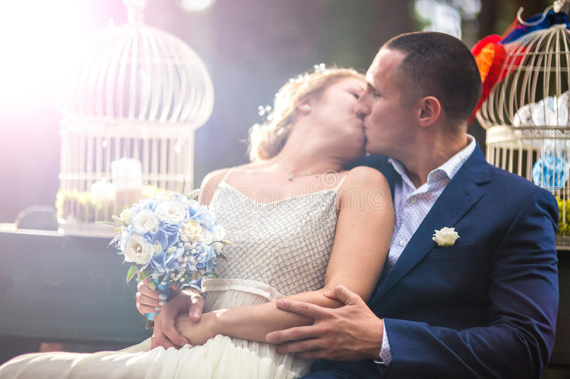 Bride and groom at wedding day stock photography
