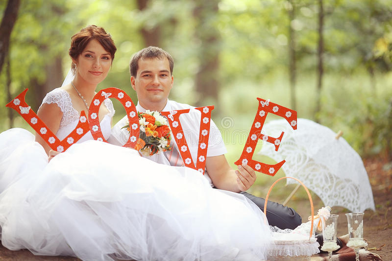 Bride and groom at a wedding royalty free stock photography