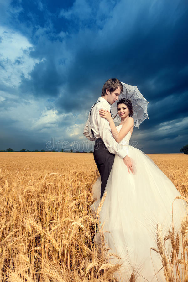 Bride and groom in wheat field with beautiful blue sky. And yellow crop. Happy young family. Colorful image with vibrant tones royalty free stock images