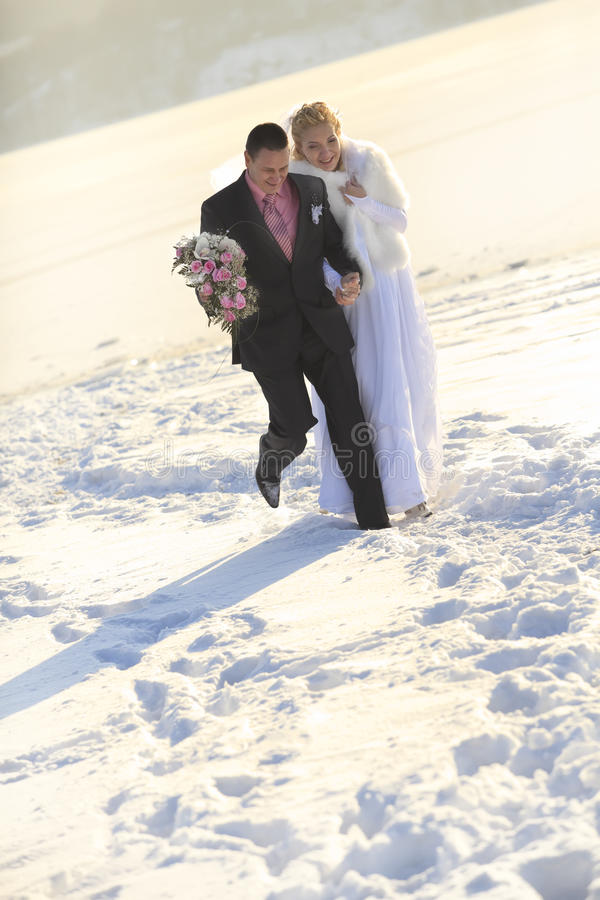 Bride and groom in winter time stock image