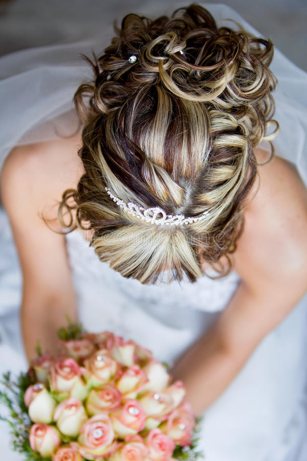 smiling bride with curly wedding hairstyle stock image image of cheerful glamour 13200745