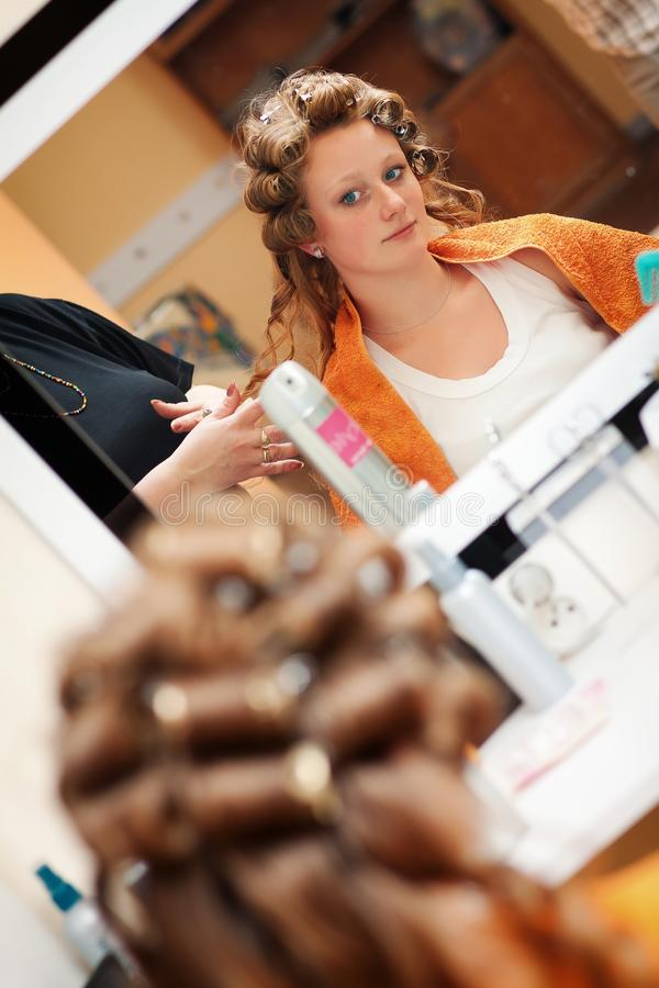Download Bride at the hairdresser stock photo. Image of human - 27188722