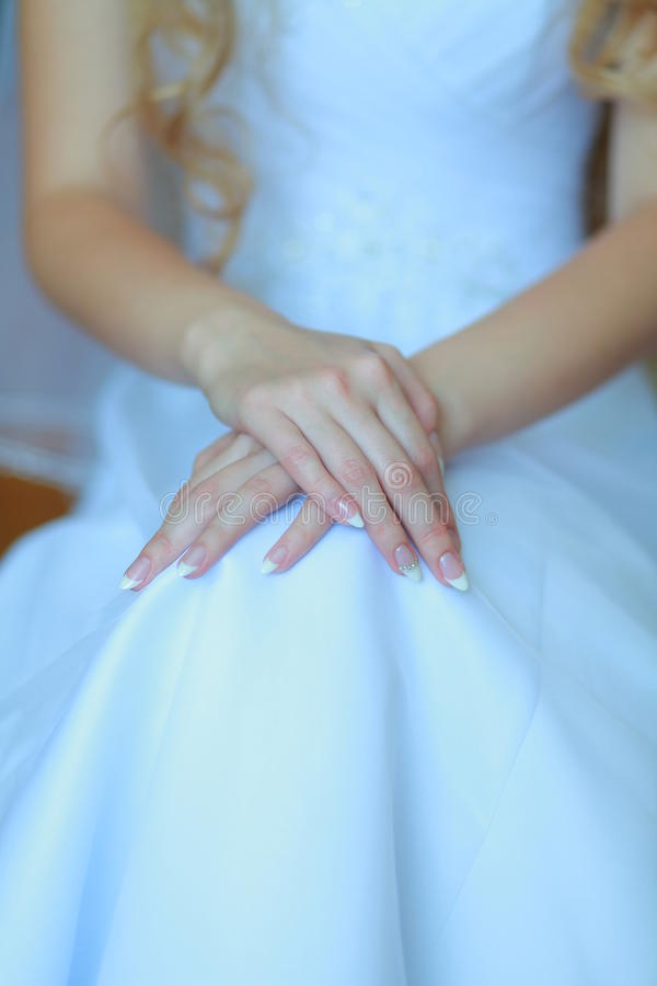 Bride hands royalty free stock photos