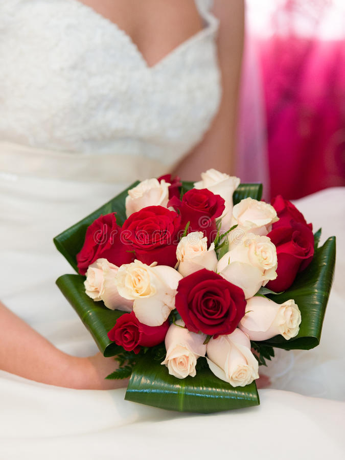 Download Bride with her bouquet stock photo. Image of hand, flower - 25277576