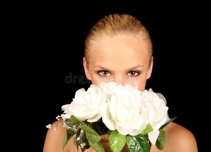 Bride With Her Face In Her Royalty Free Stock Photos