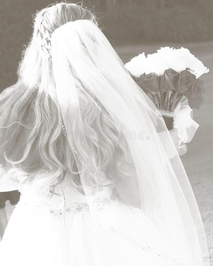 Bride on her wedding day with bouquet royalty free stock photos
