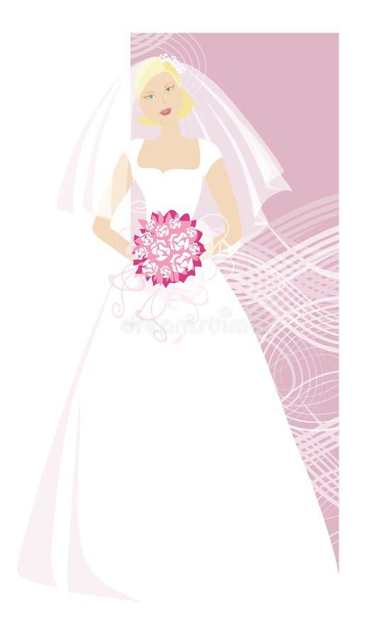 Bride holding a bouquet. Blond bride holding a bouquet stock illustration