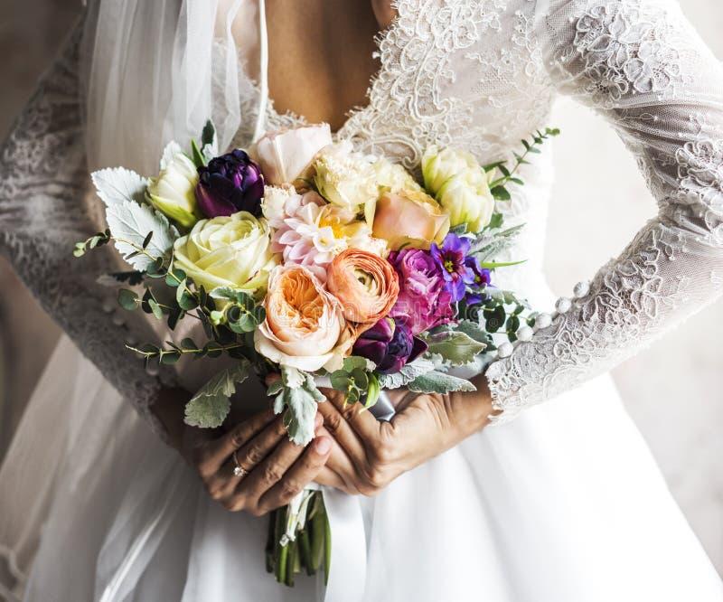 Bride Holding Flower Bouquet Wedding Engagement Ceremony Stock Photo ...