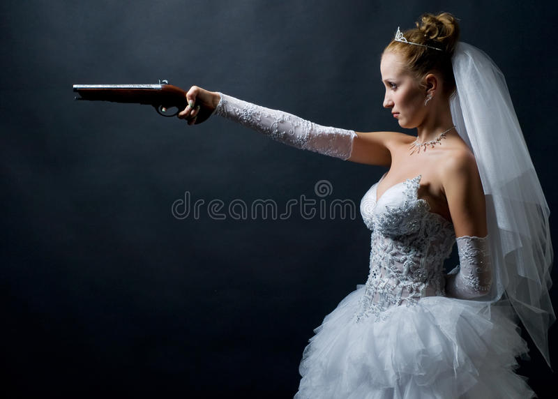 Download Bride holding old gun stock photo. Image of pearl, blond - 11377742