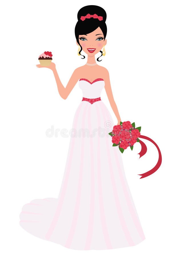 Bride holding wedding bouquet and cupcak vector illustration