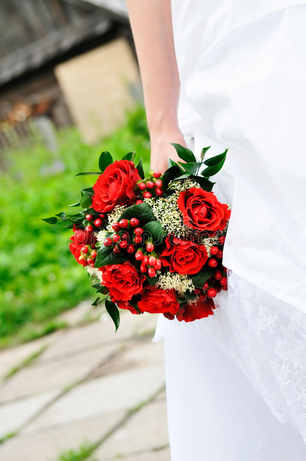 Bride Holding Wedding Flowers Bouquet Stock Image