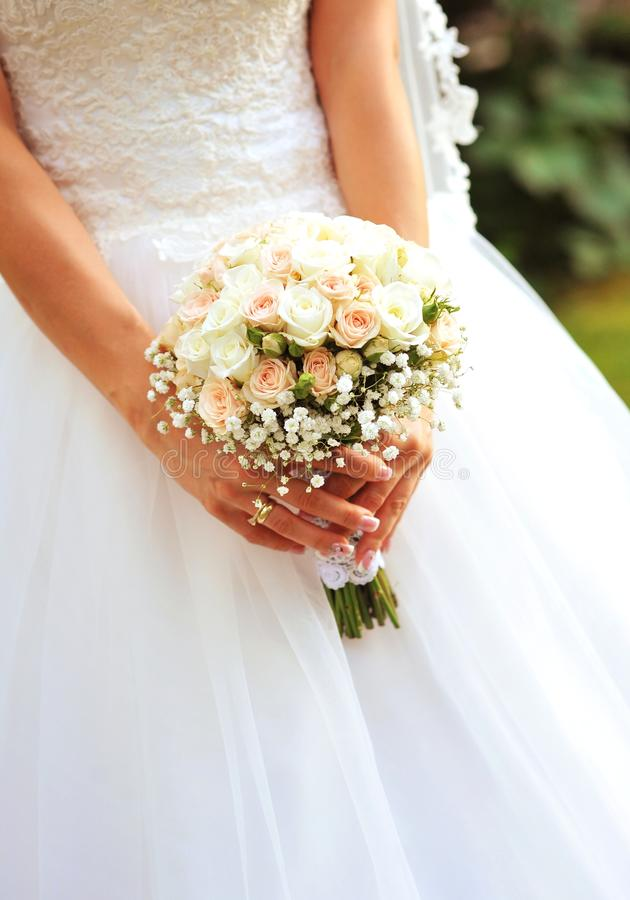 Bride Holding Wedding Flowers Stock Image - Image of wedding ...
