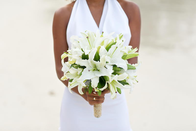 Bride Holding White Lily Flower Wedding Bouquet Stock Photo ...