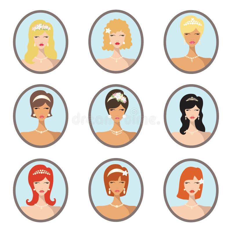 Bride images set.Wedding hairstyles design stock illustration