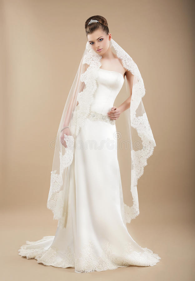 Free Bride In Wedding Dress And Veil Royalty Free Stock Photography - 40134737