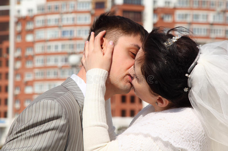 Download Bride Kisses Fiance Outdoor Stock Photo - Image: 10699096