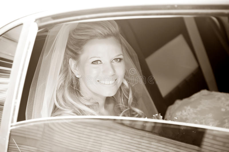 Bride in Limousine royalty free stock photos
