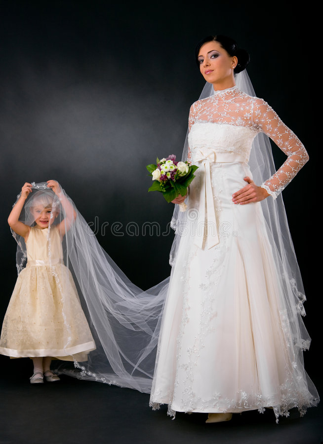 Bride with little bridesmaid