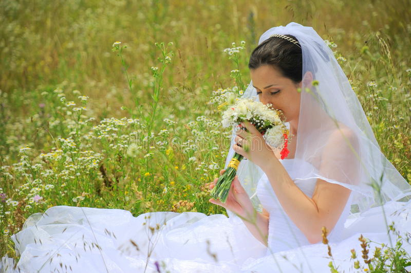 Bride living the magic of her wedding day royalty free stock photo