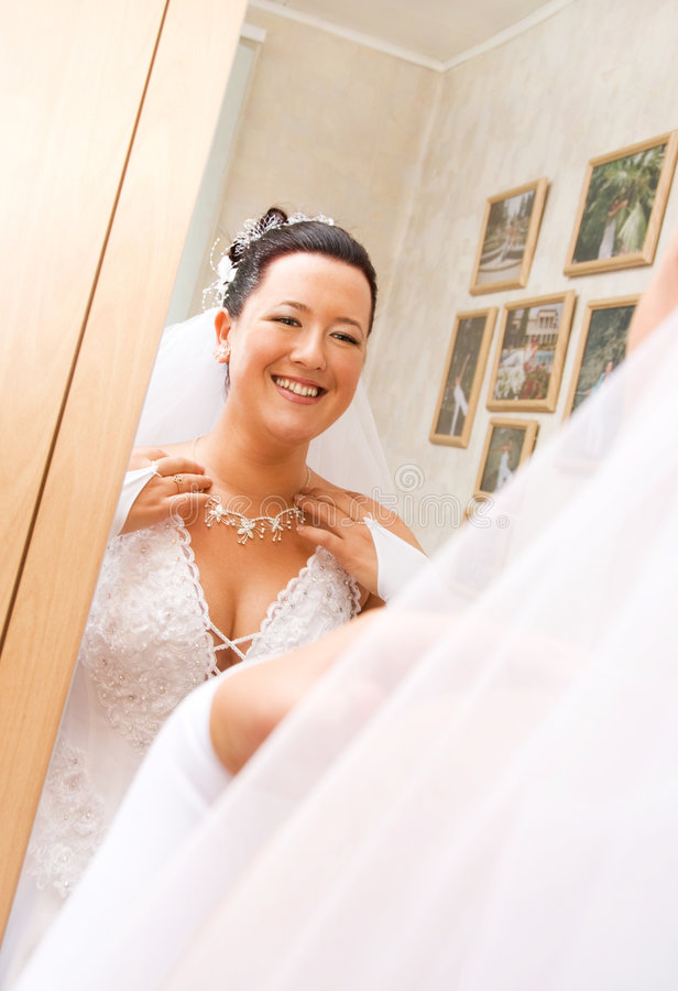 Download Bride Looking At Her Reflection Stock Photo - Image: 6140628