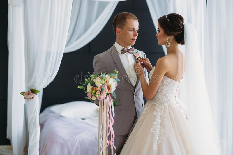 The bride in a luxurious white dress with a veil puts on a boutonniere groom in a gray suit. Wedding couple on wedding. Day dress up. Preparing the newlyweds royalty free stock photo