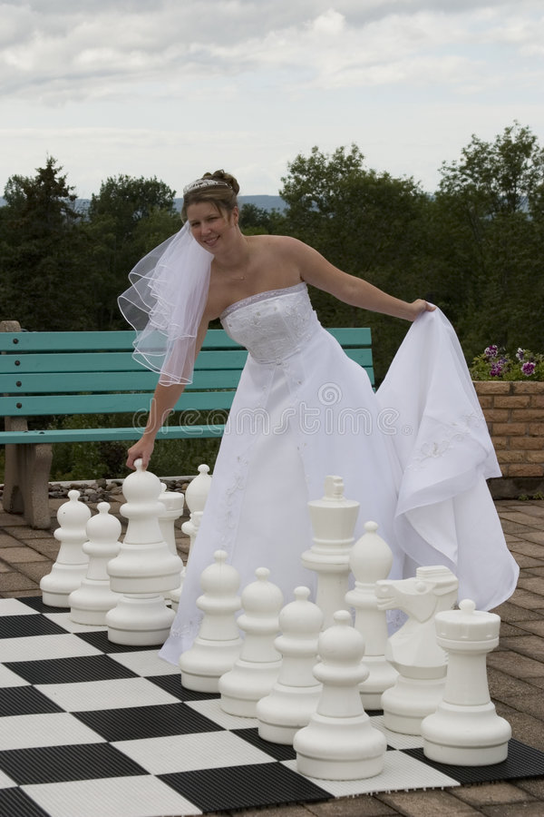 The Bride makes her move stock image