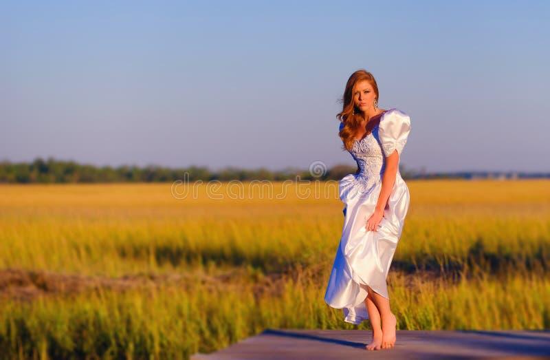 Bride in marshland in Charleston, South Carolina stock photography