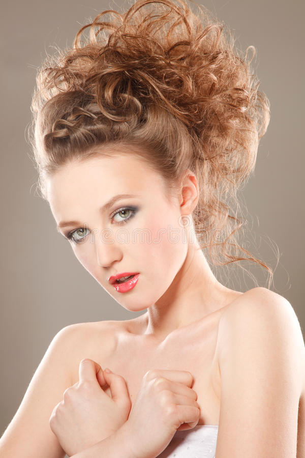 The bride with modern hairstyle stock image