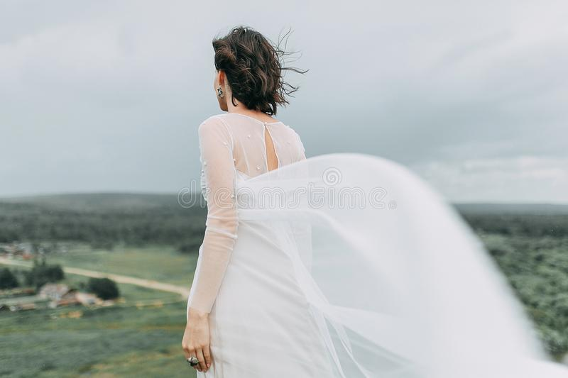 Bride in the mountains stock images