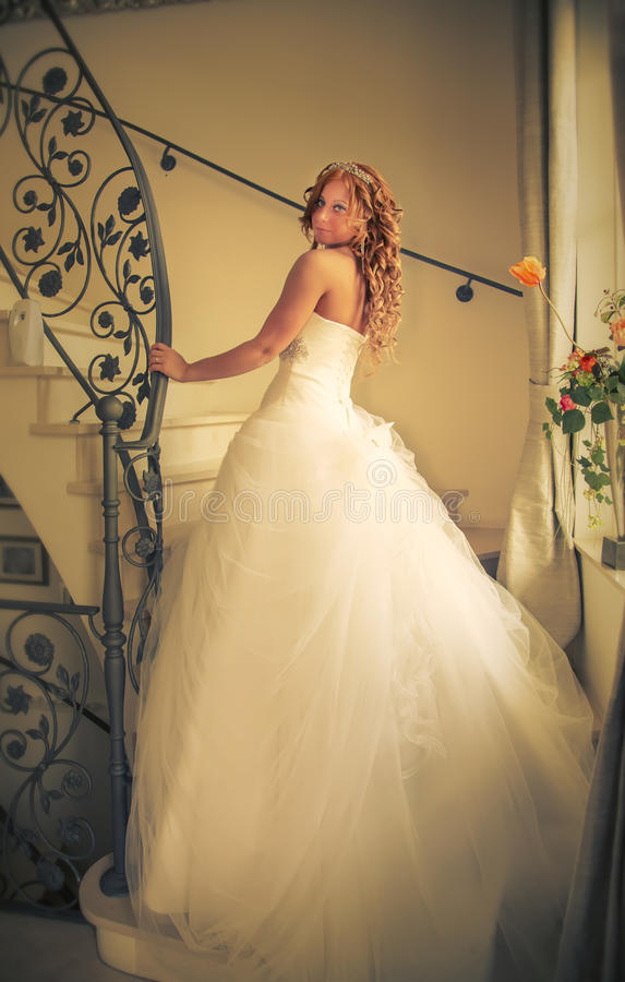 Free Bride On Stair Royalty Free Stock Photography - 30988027