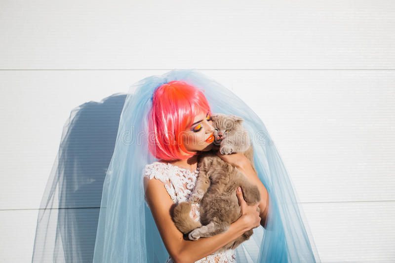 Bride with orange hair and cats. Young pretty woman with orange or pink hair and bright makeup on emotional face in white wedding dress and blue bride veil with stock images
