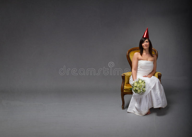 Bride party concept. Dark background royalty free stock image
