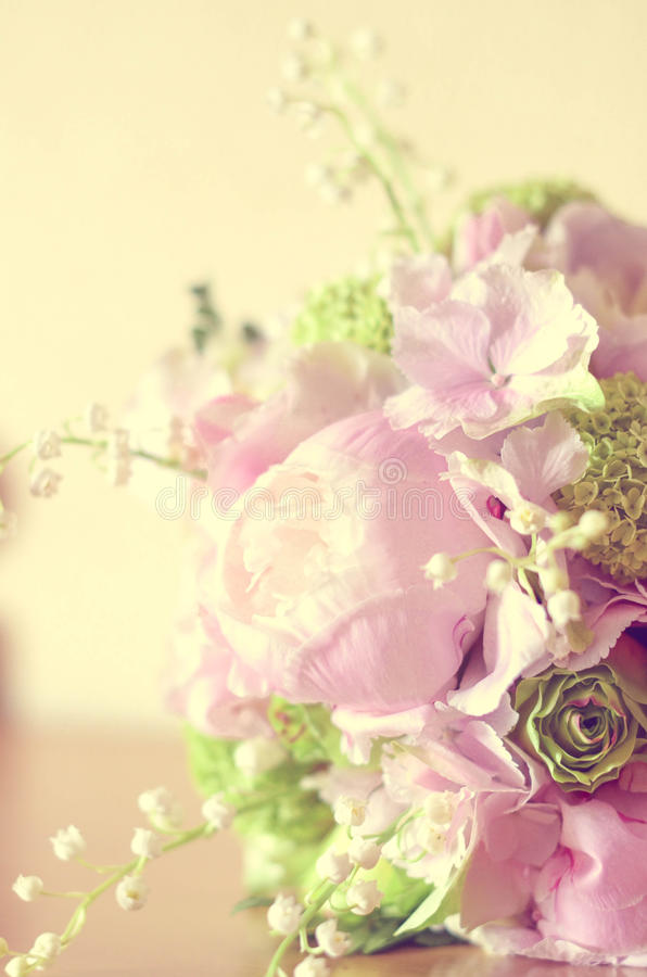 Bride peonies bouchet. Beautiful bride's bouchet with peonies royalty free stock photos