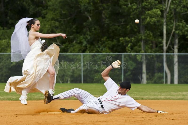 Bride Performing Double Play royalty free stock image