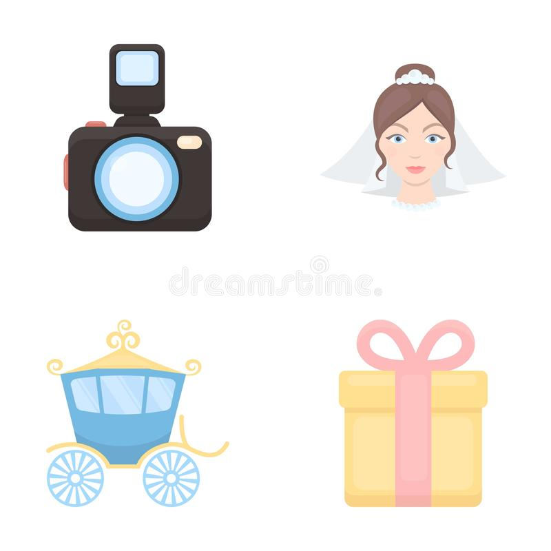 Bride, photographing, gift, wedding car. Wedding set collection icons in cartoon style vector symbol stock illustration stock illustration