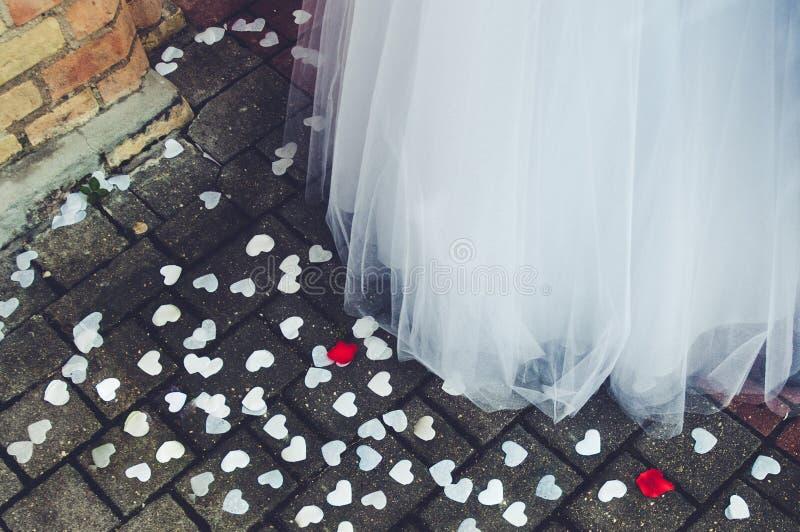 Bride. A piece of brides dress stock photography