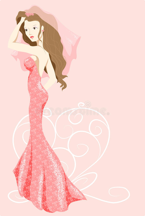 Bride in pink dress stock photography