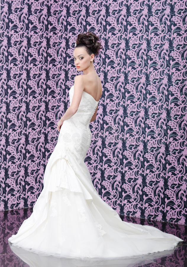 Bride portrait from the back stock photography