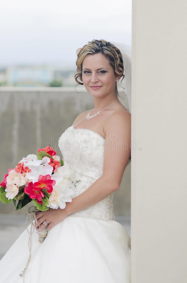 Bride portrait in city royalty free stock photography