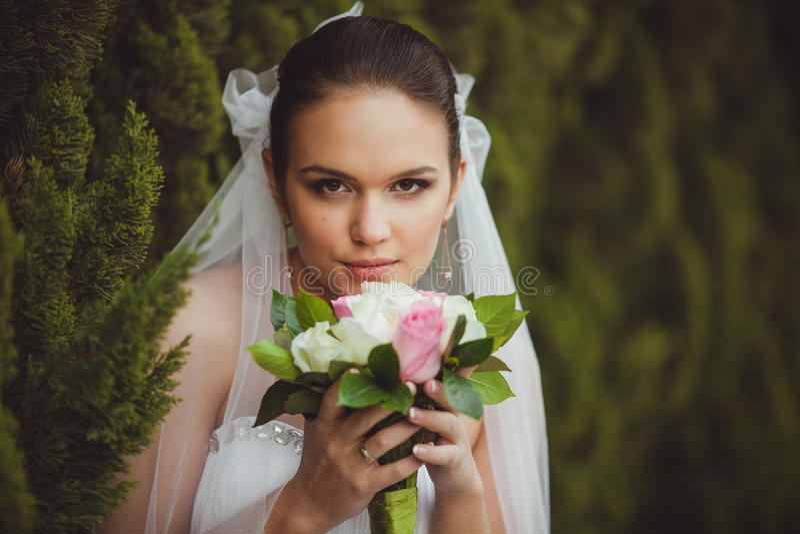 Download Bride Portrait Over Green Trees Outdoor Stock Image - Image: 31499799