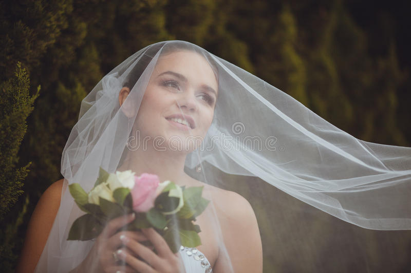 Bride Portrait Over Green Trees Outdoor Royalty Free Stock Photography