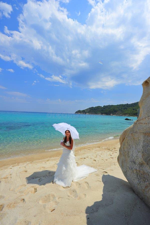 Bride portrait on tropical landscape stock photos