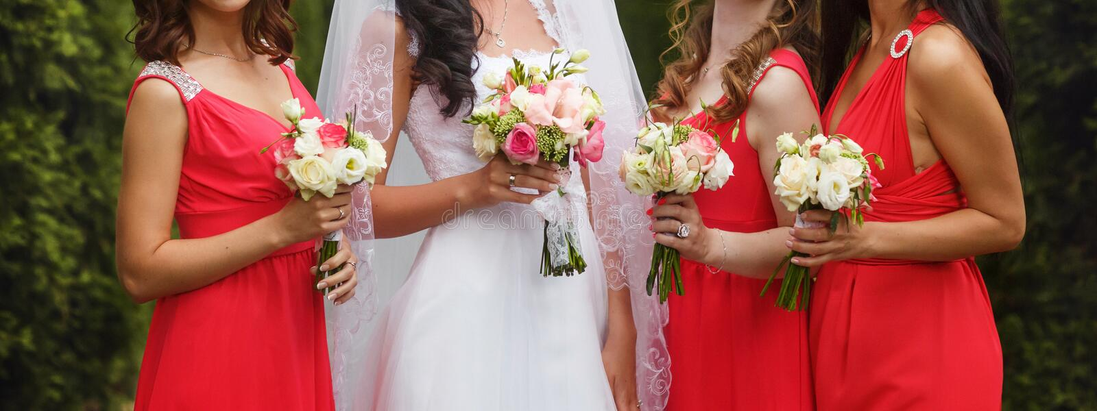 Bride poses with bridesmaids in pink dresses royalty free stock photography