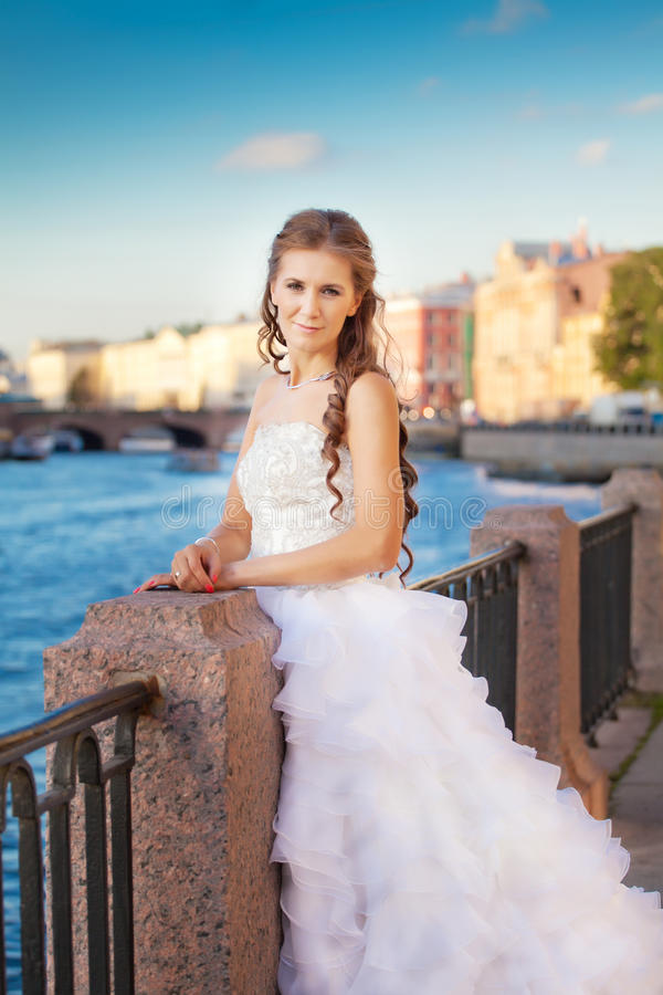 Download Bride Posing Outdoor Near The River Stock Images - Image: 33923834
