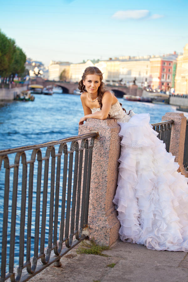 Bride Posing Outdoor Near The River Stock Photo