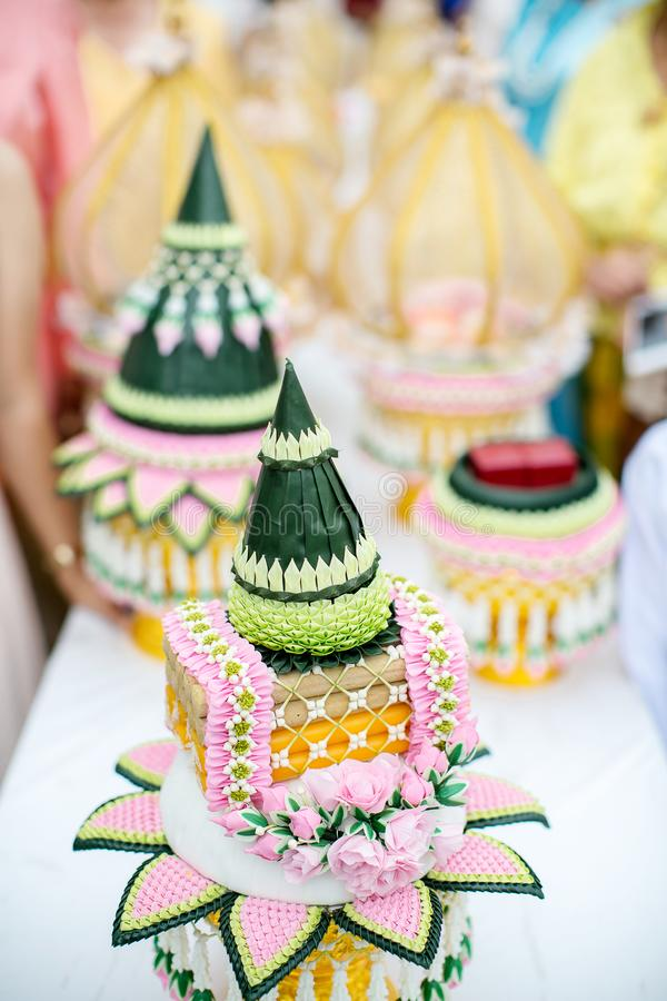 Bride price set in deluxe plate in Thai wedding ceremony. traditional wedding ceremony. Image for background illustration and copy space royalty free stock photography